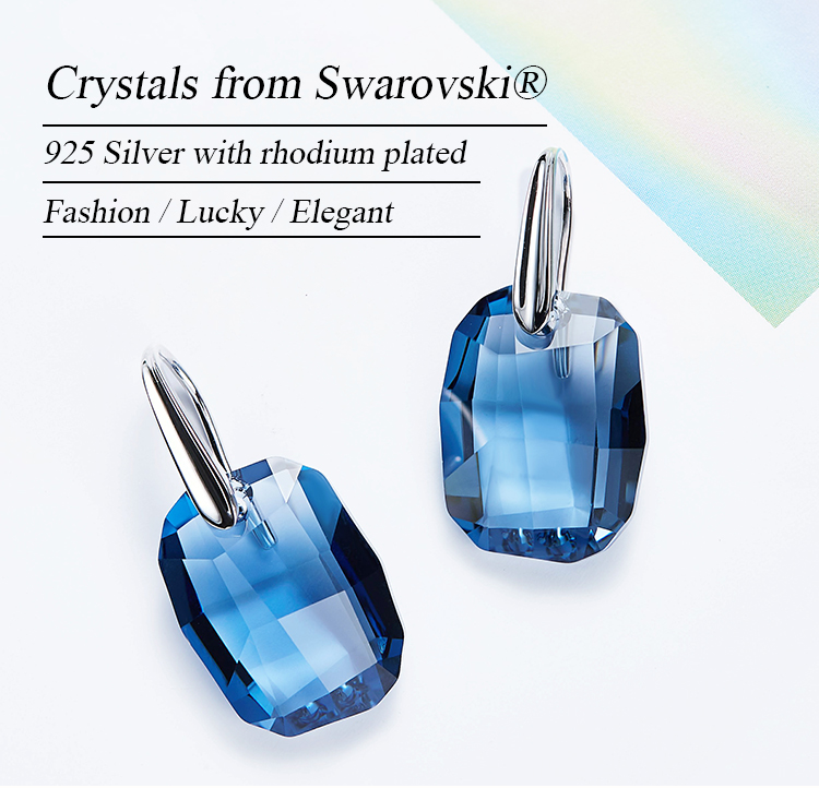 ODM OEM 925 sterling silver jewelry manufacturer custom blue crystals from Swarovski fashion earrings