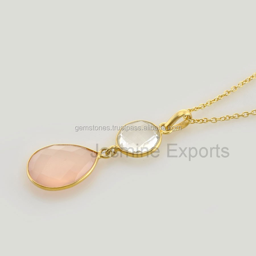 Handmade Chalcedony Gold Plated Chain Necklace Jewelries available in Best Price