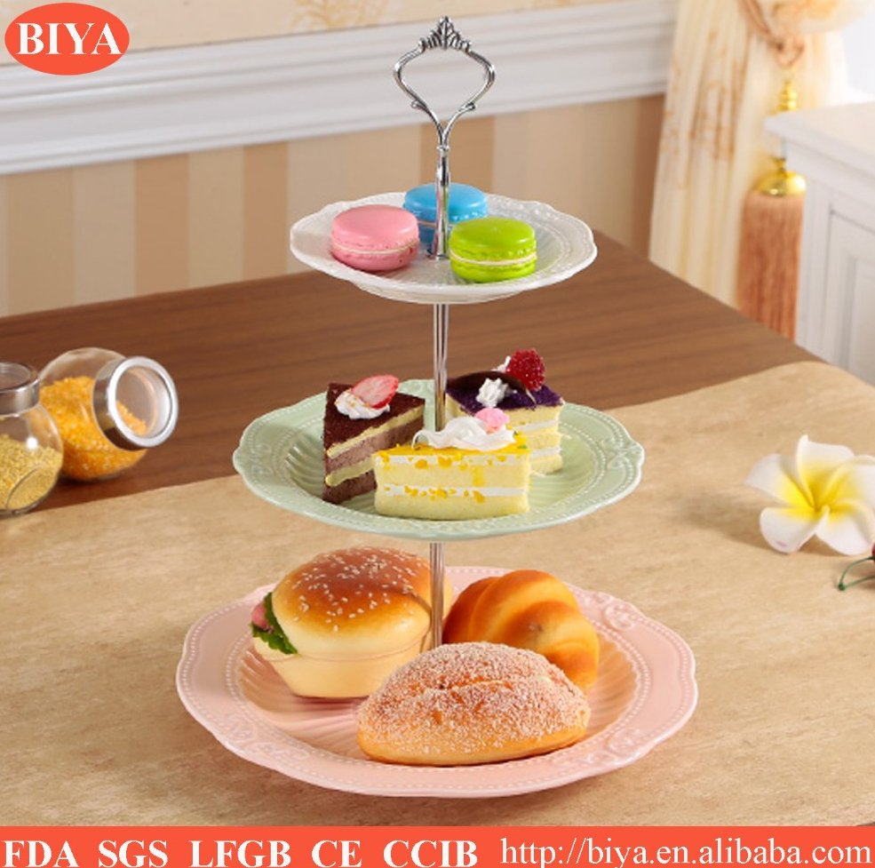 Colorful porcelain fashion 3 tier cake plate , ceramic cake stand, wedding cake stand with plastic handle