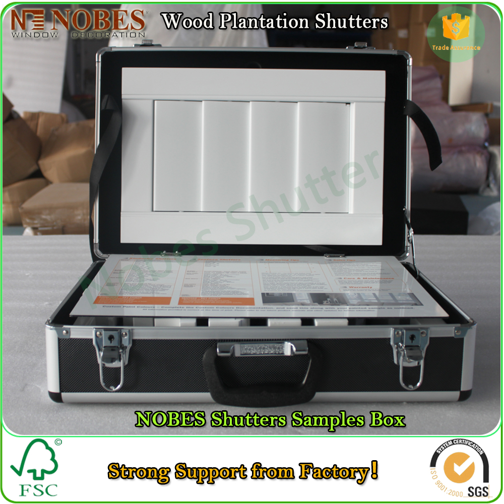 wooden plantation shutter components sample box