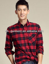 2013 men's fashion leisure sanding autumn shirt plaid dyed shirt long sleeve shirt