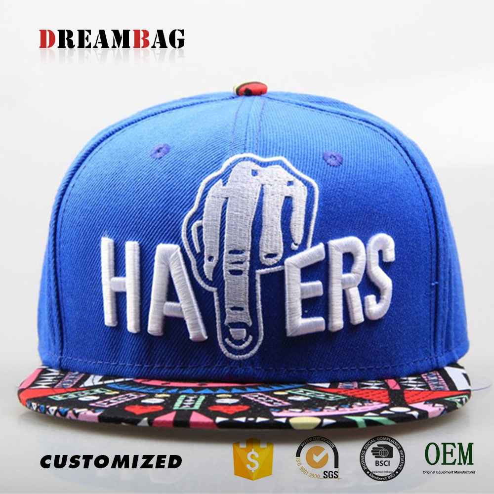 Colorful printing brim snapback caps custom 3D embroidery Guangzhou factory high quality fashion design cap