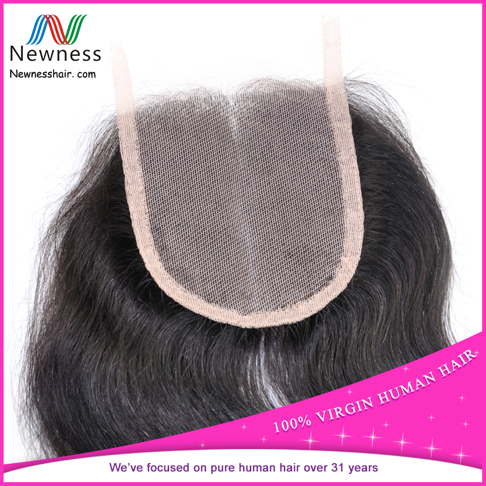 Newness hair cheap human hair lace closure 3 part silk base lace closure three part lace closure
