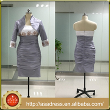 ASAJ-03 Real Pictures Zipper Back Knee Length Ruched Strapless Short Vintage Mother of the Bride Dresses with Jacket