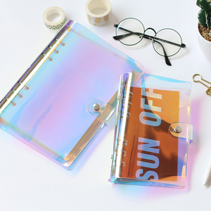 Kawaii office school stationery production supplies notebook paper folder file holder A5 laser PVC cover 6 ring binder