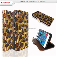 Durable diamond wallet two leather flip case for samsung galaxy phone case