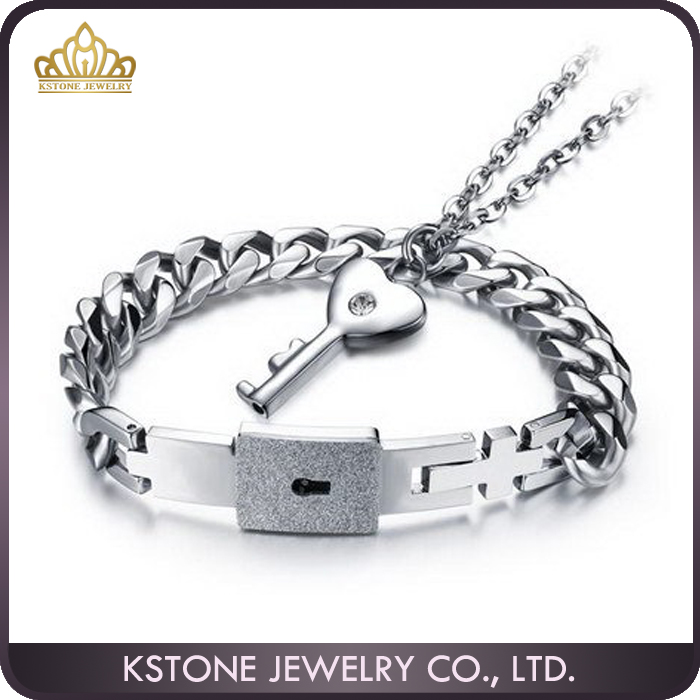 KSTONE Fashion Jwelry Titanium Steel Love Heart Lock Bangle Matching Key Pendant Necklace Couples Bracelets