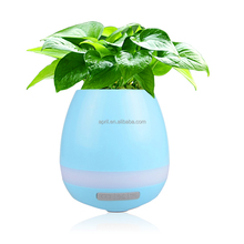 Smart Music Flower Pot Planter, Touch Play Indoor Plant Pot, Wireless Bluetooth Speaker Rechargeable music pot