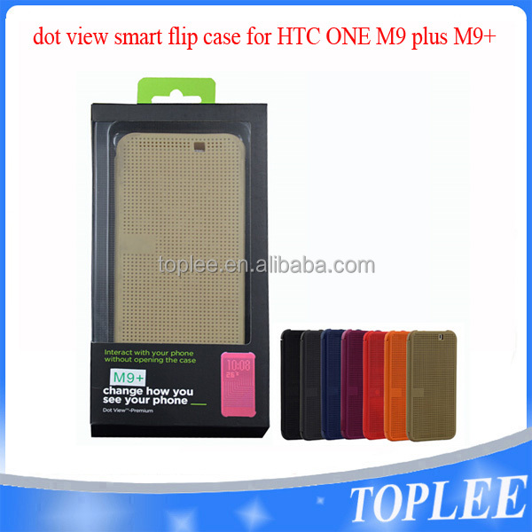 Slim DOT MATRIX Smart Dot View Flip Case Cover For HTC One M9+ with Retail Packing