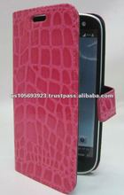 Pink leather cell phone cover for Sumsang I9300 Galaxy S 2 S3