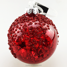Large outdoor christmas decorative red shiny glass balls