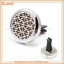 Classic Chinese pattern 30mm DIY Liquid/Oil pads Air conditioner Vent Clip 316L Stainless Steel Car Diffuser Perfume Locket