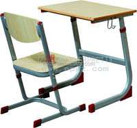 Wood Top and Metal Frame Single School Classroom Desk and Chair Standard Classroom Single Desk and Chair