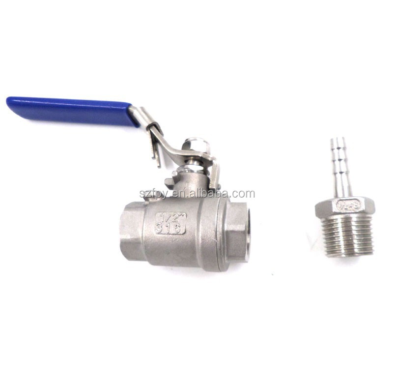 "Stainless Steel Ball Valve 1/2""NPT Full Port ball value & 1/2 MPT X 3/8 Hose Barb fitting"