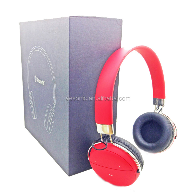 red color rubber coating bluetooth headset with LED light
