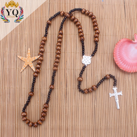 PYQ- 00301 Traditional christianity crest natural brown wood rosary bead cross necklace pendant