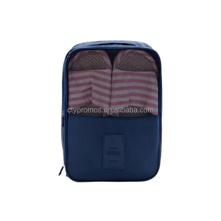 Customized Portable Waterproof Mesh Foldable Travel Wash Shoes Sorting Storage Bag Organizer With Zipper