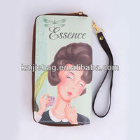 PU leather fashion single zipper fancy ladies money purse