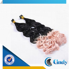 hot sale! top quality ombre i tip brazilian curly hair extensions for cheap