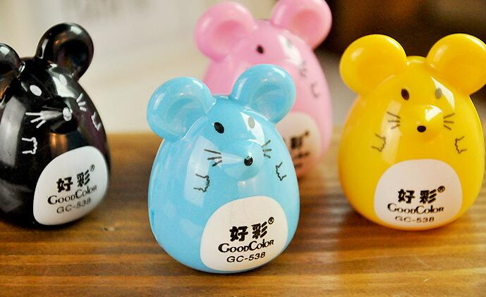 Promotional gifts DIY creative stationery novelty funny kid pencil sharpener lovely cute cartoon animal mouse shape sharpeners