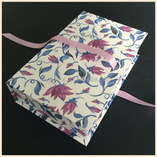 Decorative Paper Covered Ribbon Gift Boxes WIth Flower Printing Outside