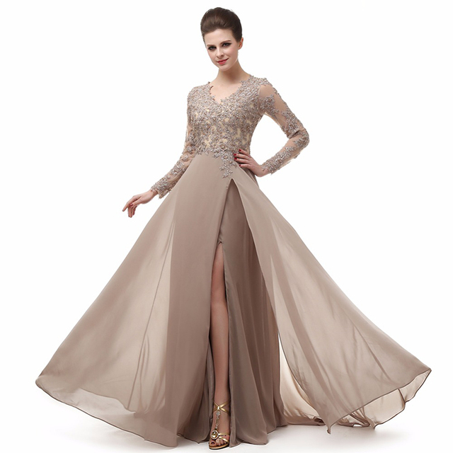 Long Sleeve A Line V Neck Chiffon Lace Beaded Free Prom Dresses