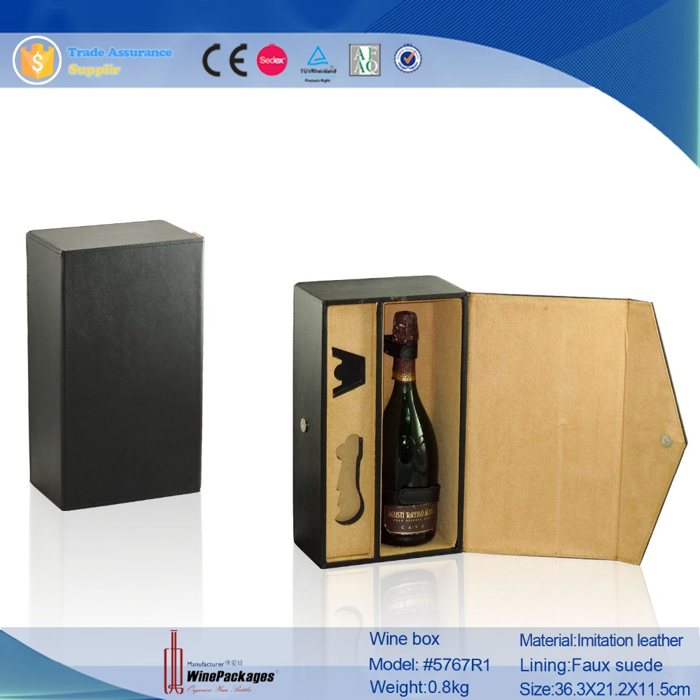 single bottle magnetic leather wine carrier with insert, recycled wine box