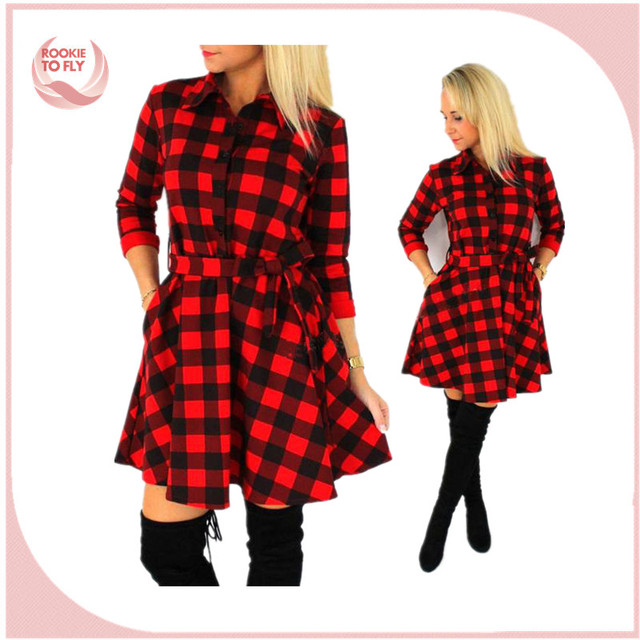 Leisure Vintage Dresses Autumn Fall Women Plaid Check Print Spring Casual Shirt Dress