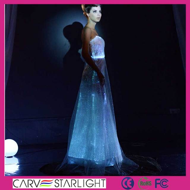 2015 LED glow simple long non sleeve luxury bridesmaid dress