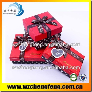 Ribbon bowknot wedding gift box for packing candy