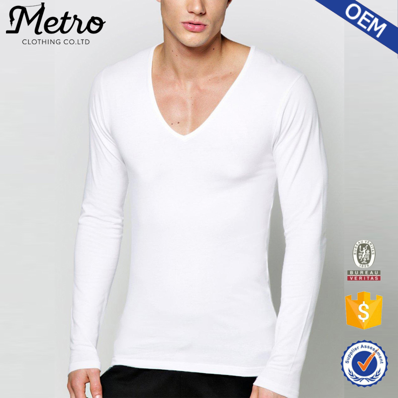 2016 Wholesale Custom Mens Muscle Fit Deep V Neck T Shirts