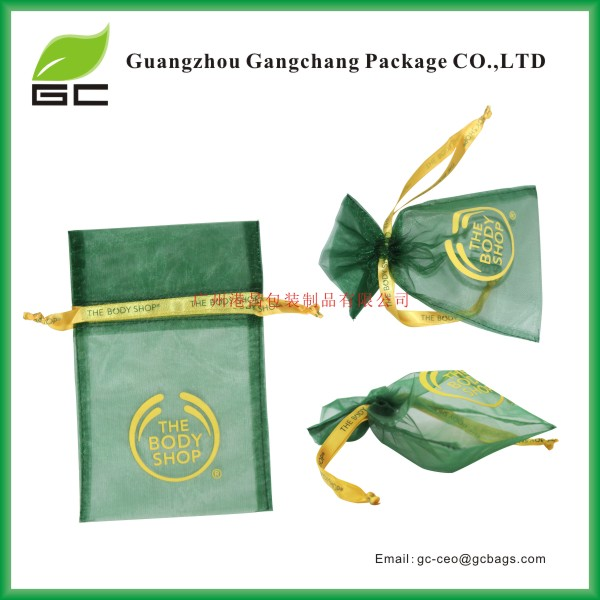 Best price drawstring embroidered organza bags with logo ribbon