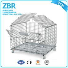 Folding metal collapsible welded steel mesh box pallet cage stillage