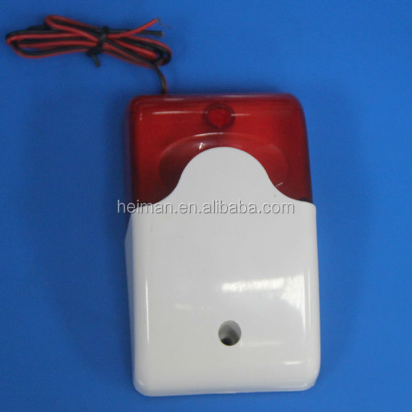 12V wired LED Flashing warning strobe siren sound fire alarm siren