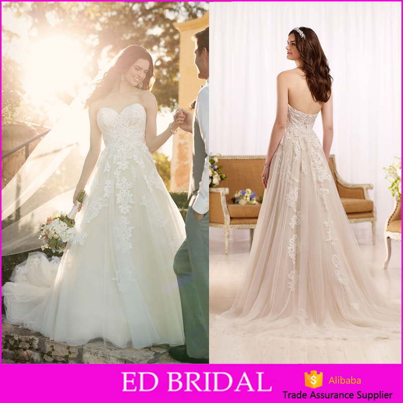 Hot Sale A-line Sweetheart Neckline Appliques Traditional Western Country Cheap Wedding Dresses
