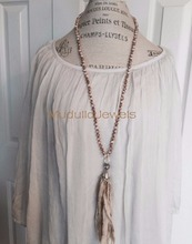 N16120704 Fashion Boho Long Layer Pink Crystal Beaded Rhinestone Knotted Lariat Necklace Silver plated Tassel Necklace