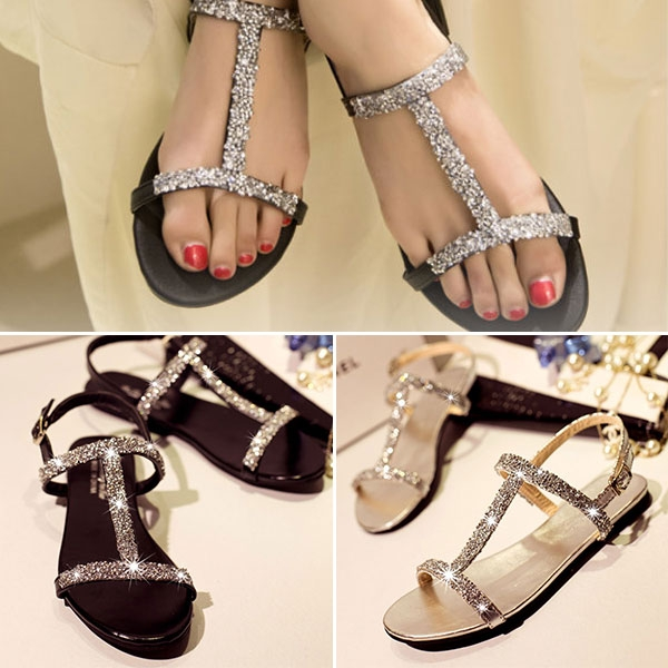 Summer Women Diamond <strong>Flat</strong> Shoes Sparkling Thong Lady Beach Sandal Silver Black