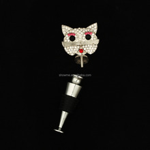 Factory Own Design High quality lovely crystal cat wine stopper alibaba offer pretty wine stopper