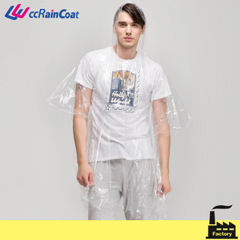 promotional disposable pe raincoat, one time use, transparent color