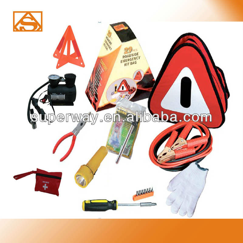 Triangular bag car emergency tool kit with air compressor