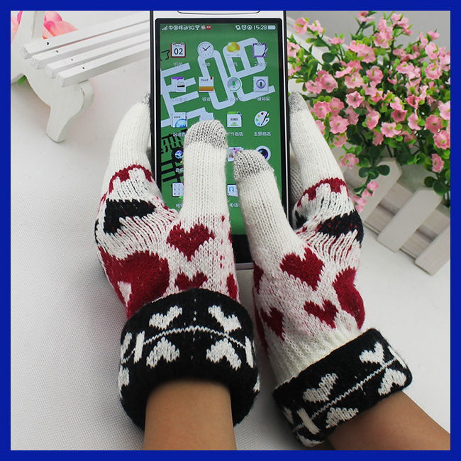 Fashion Design Daily Usage Soft Knitted Jacquard Touch Screen Gloves