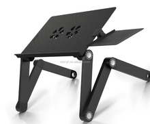 Portable Laptop Table Stand with Mouse Pad ,Adjustable-Ergonomic Mount-Ultrabook-Macbook Light Weight Aluminum-Black Bed Tray