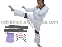 Taekwondo training exercises with elastic tubes