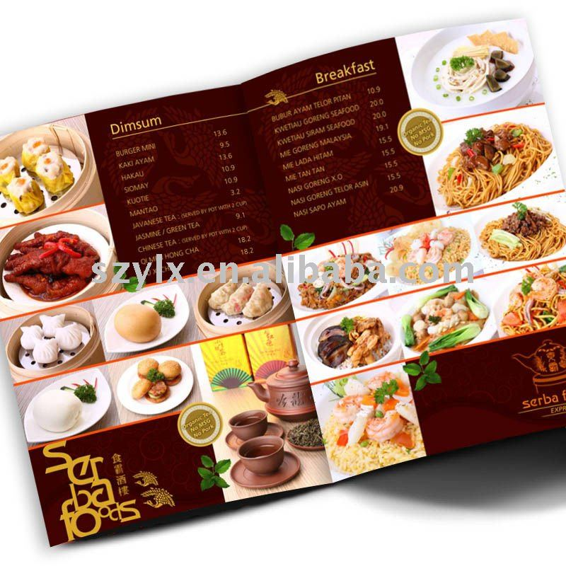 experienced design and printing of restaurant menu cover