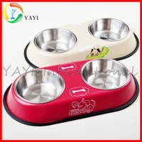 Double Non Slip Dog Pet Water Food Stainless Steel Bowl