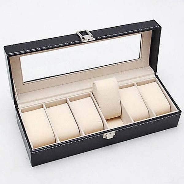 Leather Watch Box Glass Top Display Lockable Organizer Case