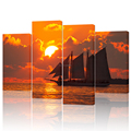 4 Piece Canvas Wall Art Ocean Sunset Seascape Sailboat Pictures Canvas Photo Prints for Home Decor