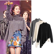 Europe and the United States women's autumn winter new irregular dog type backing Yang Mi with turtleneck sweater
