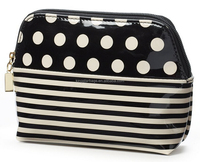 Black Polka Dot Stripes Print Faux Leather Cosmetic Case Makeup Bag