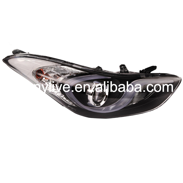 For HYUNDAI Avante i35 Elantra LED Head Lights with projector lens 2011-2014 year Black Housing YZ
